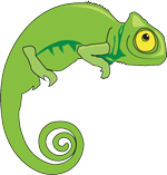 a green chameleon cartoon