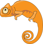 an orange chameleon cartoon